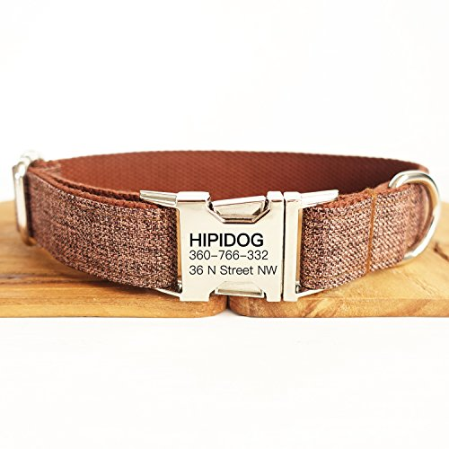 hipidog Personalized Dog Collar, Custom Engraving with Pet Name and Phone Number, Adjustable Tough Nylon ID Collar, Matching Leash Available Separately (Brown) ()
