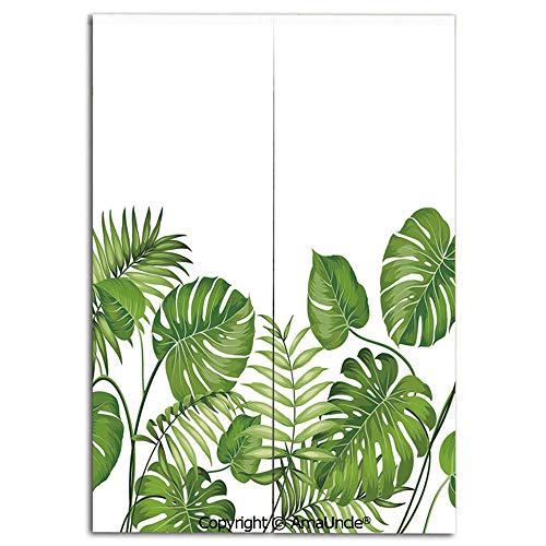 Cute Doorway Curtain Screen,Modern Room Divider Curtain,Nature Jungle Forest Rainforest Inspired Leaves Plant Foliage Swirls Botanic Image Decorative(31.5x47.2 Inches),Hanging Curtain for Bedroom Livi