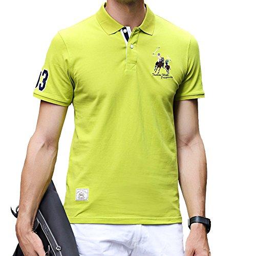 ポロシャツ メンズ ゴルフウェア 半袖 コットン 鹿の子 通気性良い 刺繍 ストレッチ 二重衿 軽量 通気性良い