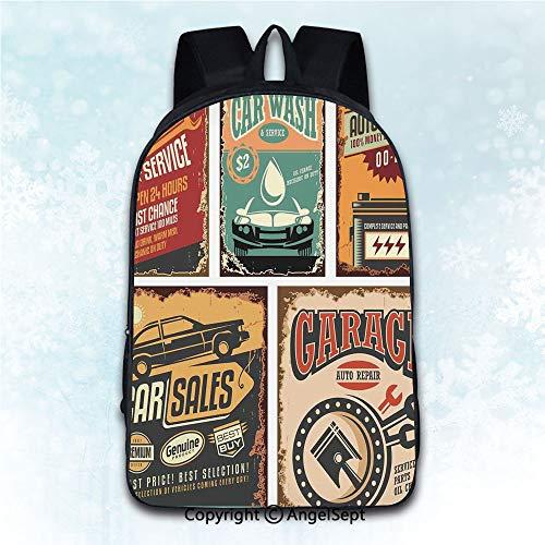 Multi-Function Stylish Knapsack,Vintage Decor Nostalgic Art Auto Service Garage Funk Style Highway Logo Repair Road Grunge Decor Multi 16 inches,Anti-Theft Rucksack Double Shoulder Bag