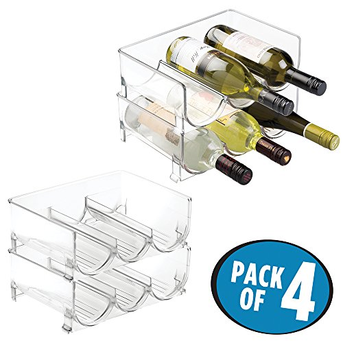mDesign Stackable Wine Bottle Storage Rack for Kitchen Countertops, Cabinet - Holds 12 Bottles, Clear (Glass Rack Stackable)