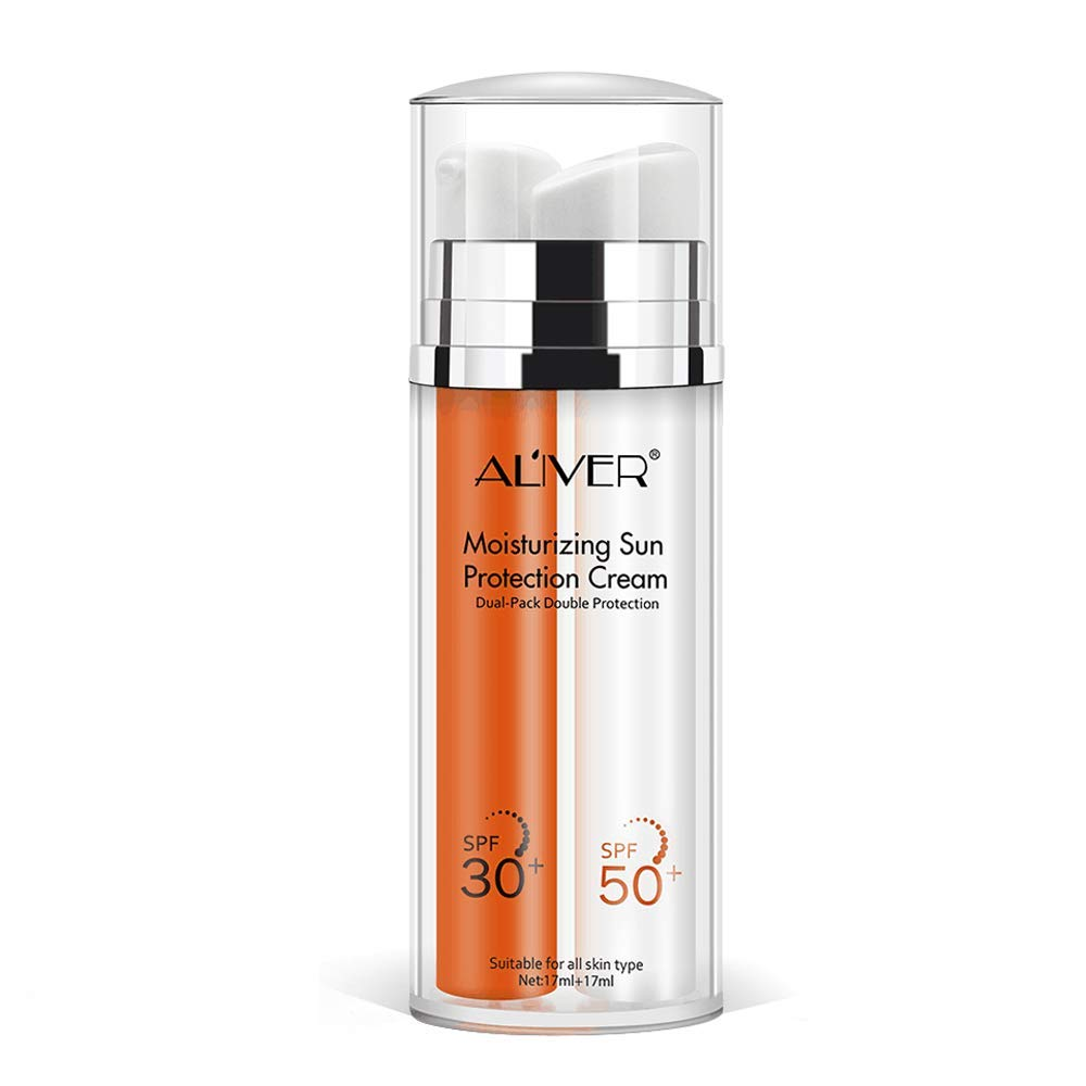 Sunscreen Cream,Double Protection Sunblock Moisturizing Sun Protection Cream Face Care Prevents Skin Damage, Non-Greasy Protection SPF 30+SPF 50