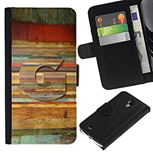 [Neutron-Star] Modelo colorido cuero de la carpeta del tirón del caso cubierta piel Holster Funda protecció Para Samsung Galaxy S4 Mini i9190 (NOT S4) [Carta del patrón de madera Líneas Símbolo]