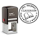 Self Inking Stamp From the Library of Teacher Gift Customizable Teacher Stamp This Belongs to Labels Personalized Black Ink Circle Classroom Stamp …
