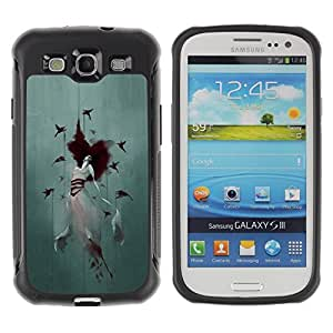 """Hypernova Defender Series TPU protection Cas Case Coque pour Samsung Galaxy S3 III I9300 [Crow Mujer Acuarela Arte Profundo""""]"""