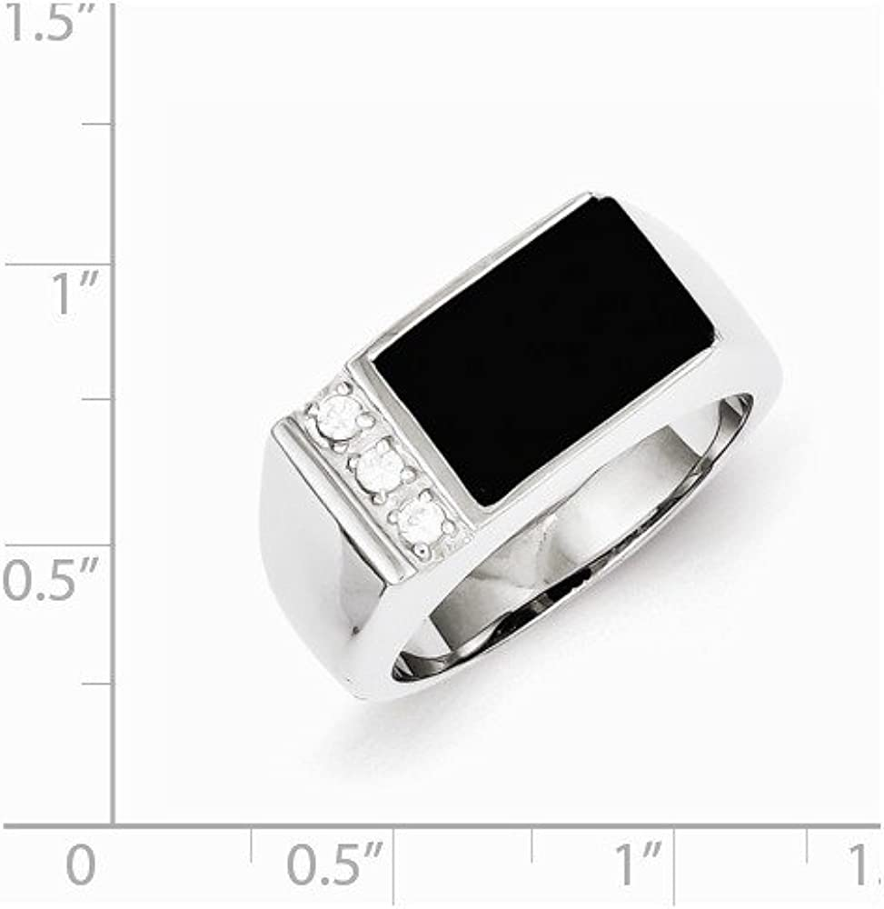 Jewel Tie 925 Sterling Silver Simulated Onyx /& CZ Cubic Zirconia Mens Ring