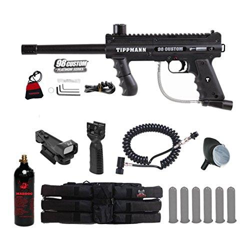 Tippmann 98 Accessories Model (MAddog Tippmann 98 Custom Platinum Series Tactical Red Dot Paintball Gun Package - Black)