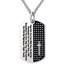 U7 Cross with Bible Verse Dog Tag Pendant Inspirational Necklace Christian Jewelry