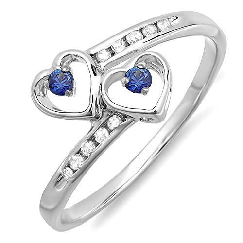 Sterling Silver Blue Sapphire & White Diamond Ladies Bridal Double Heart Promise Ring (Size 6) by DazzlingRock Collection