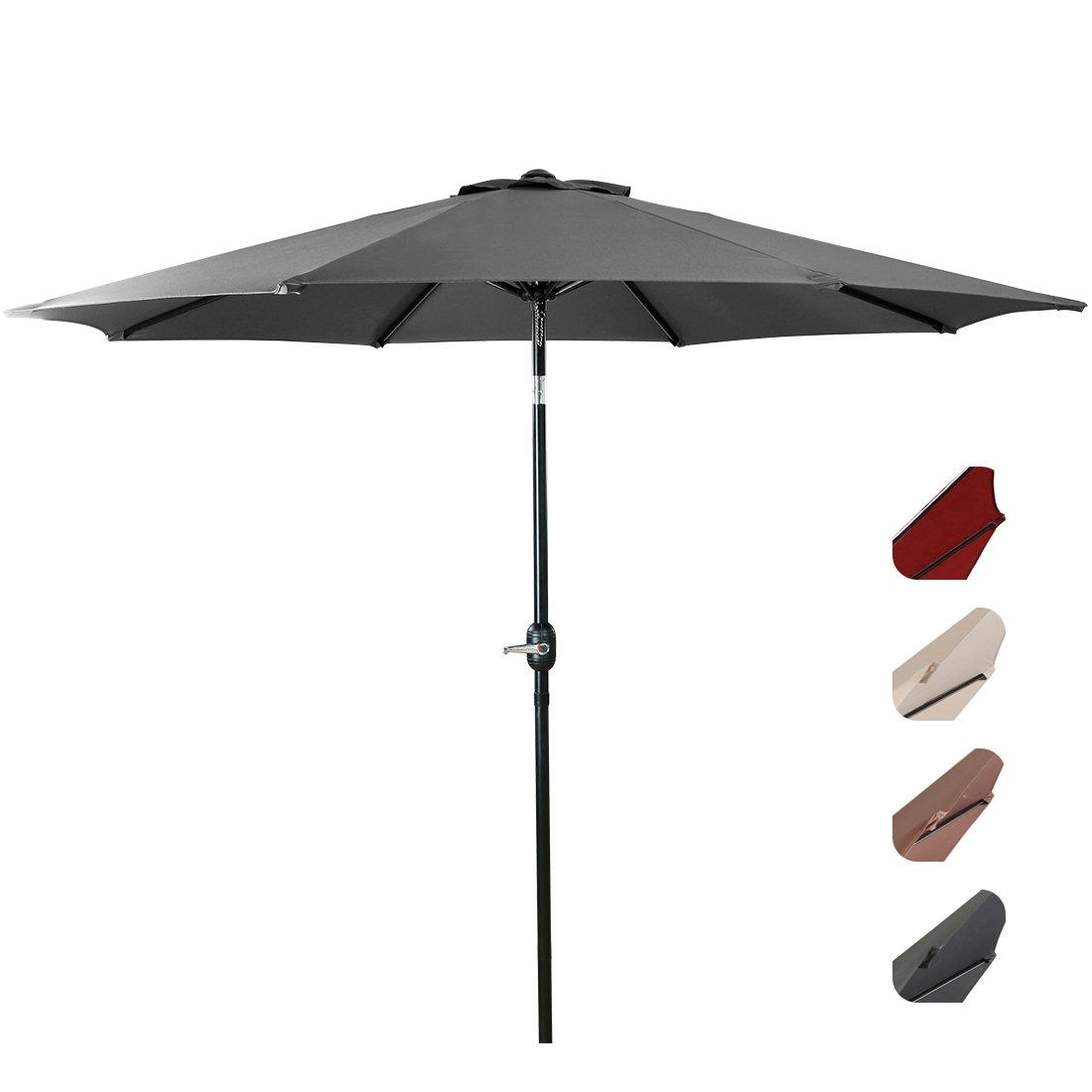 EASELAND Patio Umbrella 9-Feet Outdoor Table Market Umbrella Push Button Tilt and Crank Garden Parasol with Crank Winder, 8 Ribs, Grey