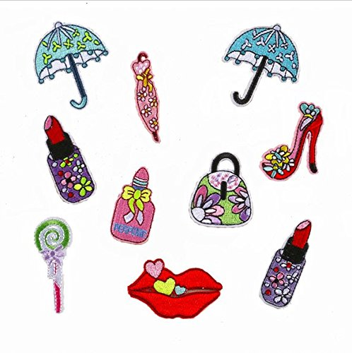 10pcs/lot Cloth Patches Garment Applique DIY Decoration Accessories Iron On Embroidered Patch Set--High Heels Lace Umbrella Perfume Candy Handbags Red Lips Lipstick Patch
