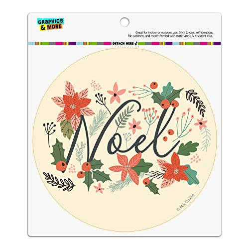 Graphics and More Noel Christmas Holly Poinsettias Automotive Car Refrigerator Locker Vinyl Circle -