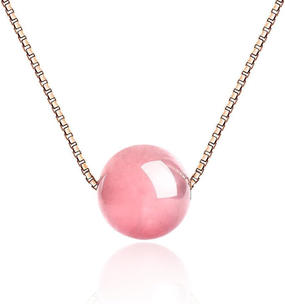 dalwa Mujer Rose Oro Cadena–Rose Gold plattierte 925plata de ley Filigrana Cadena con Bola Colgante Piedras preciosas Cuarzo rosa rosa piedra natural joyas Incluye regalo del paquete.