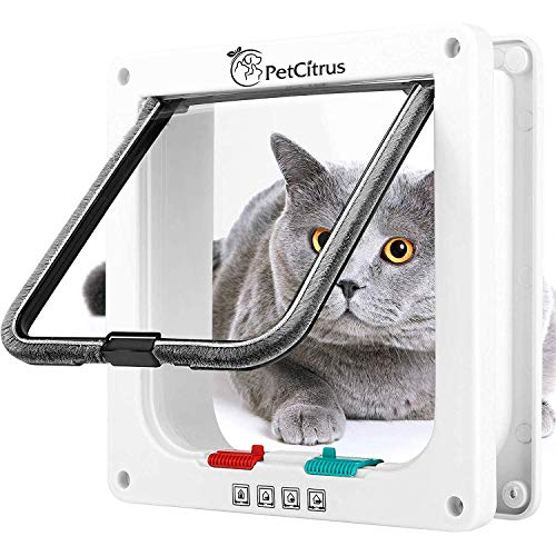 Back Cupboard Step (Cat Door Pet Doors by PetCitrus - 4 Way Locking Flap - for Interior Exterior - Indoor - Wall - Window - Weatherproof and Swinging Magnetic Door - Compatible with Large Cats - Kitty – Small Dog Doggy)