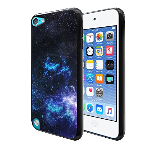 FINCIBO Case Compatible with Apple iPod Touch 5 6, Flexible TPU Black Silicone Soft Gel Skin Protector Cover Case for iPod Touch 5 (5th Generation) iPod Touch 6 (6th Generation) - Galaxy Star Space