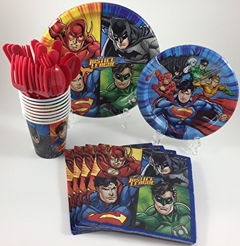 Flash Superhero Party Supplies (BashBox Justice League Superhero Birthday Party Supplies Pack Including Cake & Lunch Plates, Cutlery, Cups & Napkins for 8 Guests)