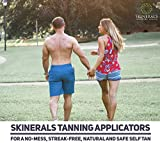 Skinerals Padded Microfiber Applicator Self Tanning Mitt Set with Exfoliator Glove and Face Mitt for Sunless Tanner and Lotion