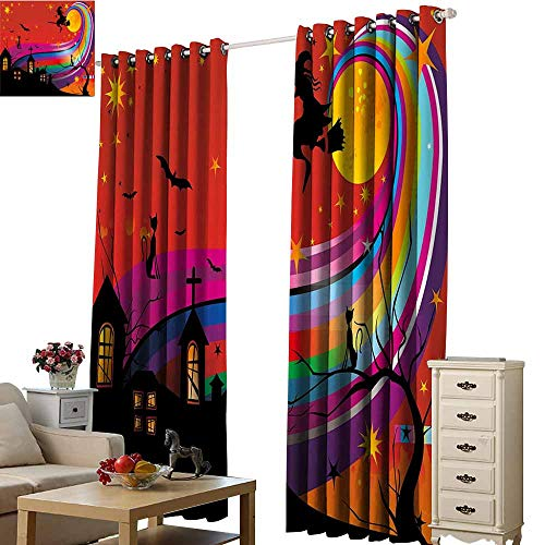 Beihai1Sun Window Curtain Scenery Print Halloween Witch Woman on Broomstick Bats Cat Stars Rainbow Moon Castle Abstract Colorful Multicolor 3D Photo Printing Hotel Drapes W72 x H84
