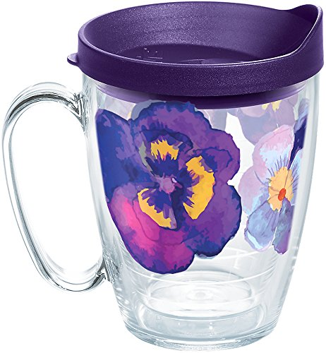 (Tervis 1258354 Watercolor Pansy Insulated Tumbler with Wrap and Royal Purple Lid, 16oz Mug, Clear)