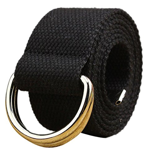 Canvas Belt,kaifongfu Double Loop Belt colorful Canvas Belt,Belt Men and Women Students Waistband (110CM -140CM, Black) from kaifongfu Apparel