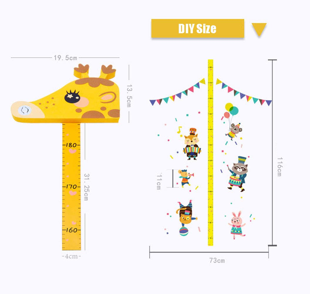 Xinyanmy 3D Musical Giraffe Kinder Messlatte Baby Messlatte H/öhe Diagramm EVA Header Baby Wachstum Diagramm Kinderzimmer Wandtattoo