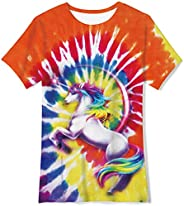 UNICOMIDEA Kids Boys T-Shirts Crew Neck Tees with 3D Print Graphic Short Shirts Slim Tops Summer Clothes for 6