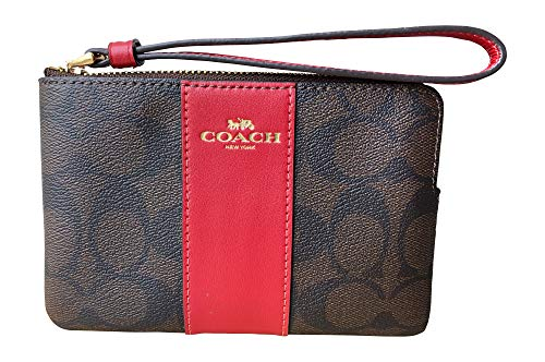 (Coach Signature PVC and Leather Corner Zip Wristlet (Brown Ruby))
