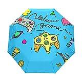 JIUMEI Video Game 38 Inch Umbrella UV Protection Auto Open Close Windproof Compact Umbrella for Women Men