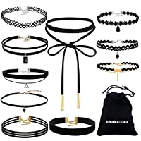Paxcoo CN-01 Black Velvet Choker Necklaces with Storage Bag for Women Girls, Pack of 10