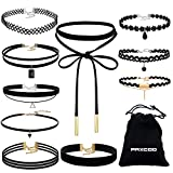 #3: Paxcoo CN-01 Black Velvet Choker Necklaces with Storage Bag for Women Girls, Pack of 10