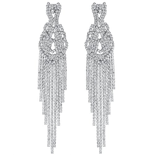 mecresh Bridal Silver Large Long Rhinestone Tassel Dangle Earrings ()