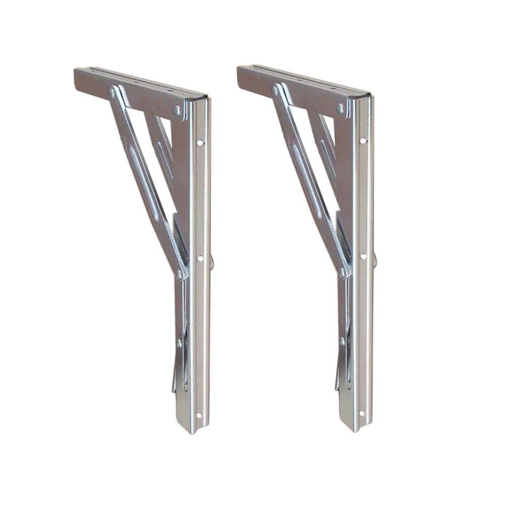 Folding Shelf Brackets - Heavy Duty Bench Table Folding Shelf or Bracket, Max. Load 550lbs ( long release handle), (Sold In Pairs) by HOFFEN