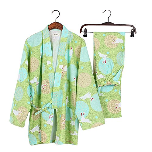 女性の和風ロングスリーブローブコットン着物パジャマスーツドレスアップセットグリーン
