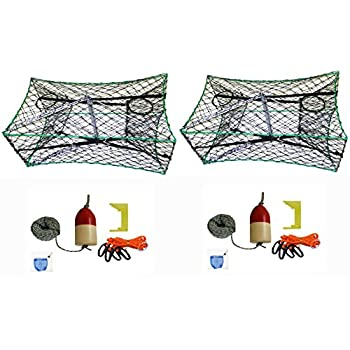 Image of 2-Pack of KUFA Galvanized Foldable Crab Tra & Accessory Kit (100' Lead CoreRope, Clipper,Harness,Bait Case & 14' Red/White Float) (S33+CAQ3) x2 Fishing
