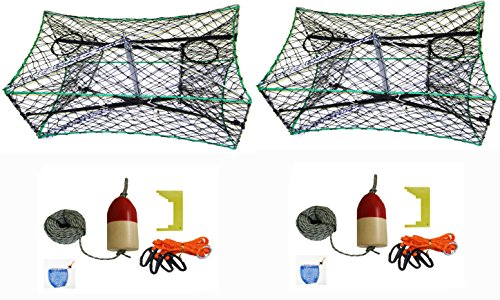 2-Pack of KUFA Galvanized Foldable Crab Tra & Accessory Kit (100' Lead CoreRope, Clipper,Harness,Bait Case & 11'' Red/White Float) (S33+CAQ1)x2 by KUFA