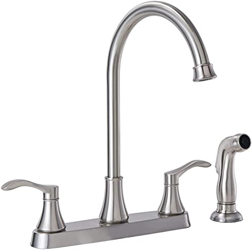 VALISY Modern Lead-Free Stainless Steel High Arch Satin Nickel Kitchen Sink Faucet 8.5 inch RV Bar Sink Faucets with Side Sprayer 360 Swivel Spout