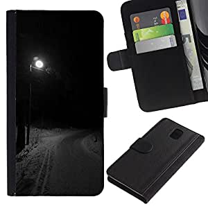 KingStore / Leather Etui en cuir / Samsung Galaxy Note 3 III / Farola Invierno Camino Oscuro;