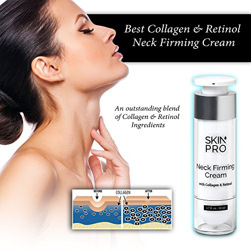 51DmT DL3SL - Neck Firming Cream - Anti Aging & Skin Tightening Serum by SkinPro - Age Defying - Made with Marine Collagen & Peptides - Contains Vitamin A & Retinol for Firm Skin - Paraben Free