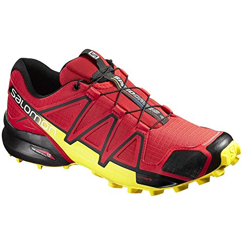 Salomon Men's Speedcross 4 Trail Running Shoes Radiant Red/Black/Corona Yellow 9.5