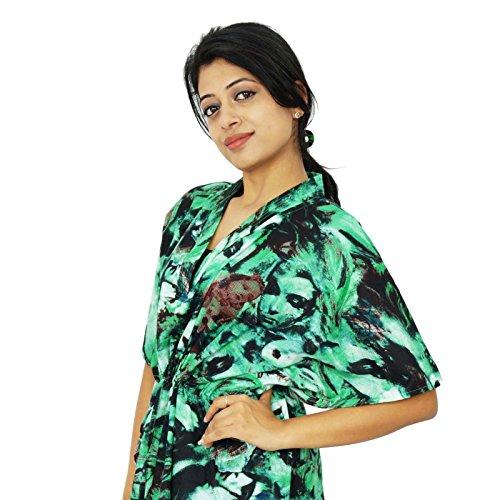India Boho algodón Kaftan hippy más el tamaño de Caftán African Beach Cover Up regalo para las mujeres Verde