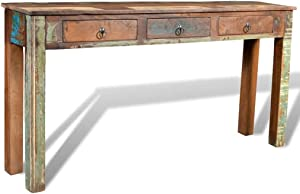 vidaXL Console Table with 3 Drawers Reclaimed Wood Entryway Hall Furniture