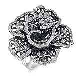 White CZ Vintage Antiqued Filigree Flower Ring Sterling Silver Band Sizes 6-10