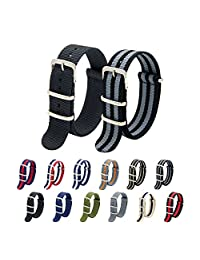 Nato Strap Pack of 2 18mm 20mm 22mm Premium Ballistic Nylon Watch Bands with Stainless Steel Buckle Top Spring Bar Tool and 4 Spring Bars (Black+Bond, 22mm)