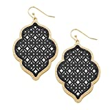 Rosemarie Collections Women's Two Tone Openwork Moroccan Dangle Earrings (Gold Tone and Black)
