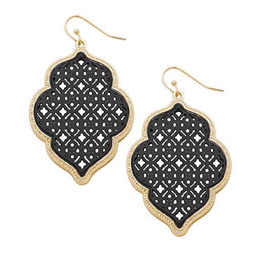 Rosemarie Collections Women's Two Tone Openwork Moroccan Dangle Earrings (Gold Tone and (Two Tone Openwork)