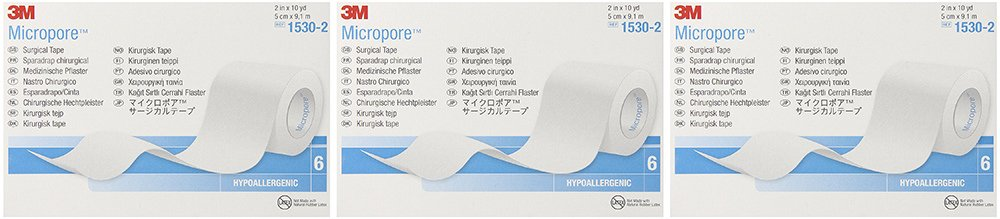 3M Micropore Tape 1530-2, 6 Rolls (3 Sets)