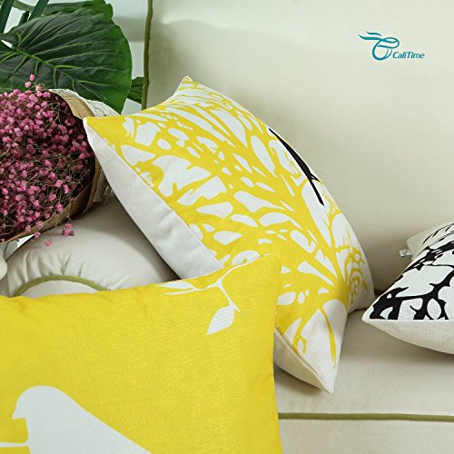 Set of 4, CaliTime Soft Canvas Throw Pillow Covers Cases for Couch Sofa Home Decor, Shadow Bird Tree Branches Silhouette, 18 X 18 Inches, Yellow