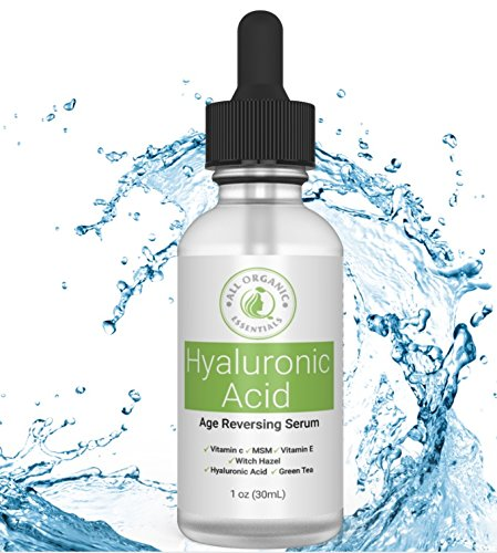 Hyaluronic Acid Serum for Skin & Face with Vitamin C & E, MSM, Aloe Vera, Jojoba Oil - Deeply Hydrates, Plumps Skin, Reduces Fine Lines & Wrinkles | Anti Aging Serum, All Organic Essentials 1 Oz