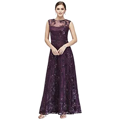 2d5b05c423fa9 Floral-Embroidered Illusion Ball Mother of Bride/Groom Gown Style ES966DB,  Eggplant,