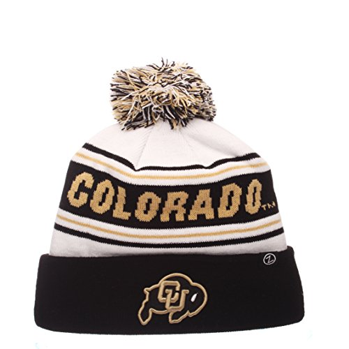 Zephyr NCAA Colorado Buffaloes Adult Men Finish Line Arctic Beanie, Adjustable, White/Team Color ()